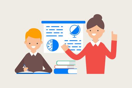 teacher teaching: Vector illustration of teacher teaching student in a classroom
