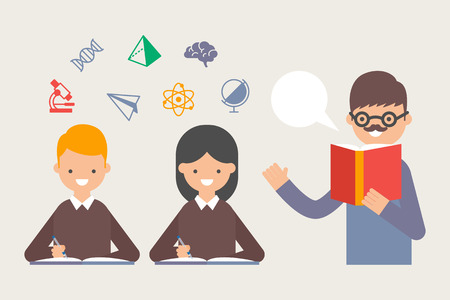 Vector illustration of teacher teaching students
