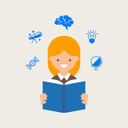 student book: Vector illustration of a student reading a book, education concept
