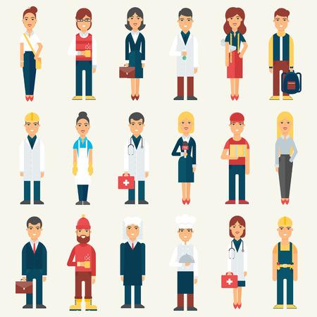 trabajadores: La gente, los profesionales, la ocupación. ilustración vectorial