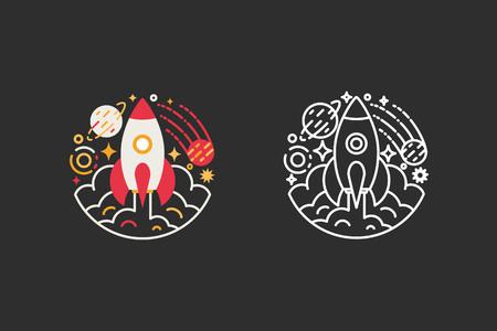 COHETES: Espacio, cohete, logotipo de la plantilla universo. estilo plano y la línea moderna ilustración vectorial Vectores