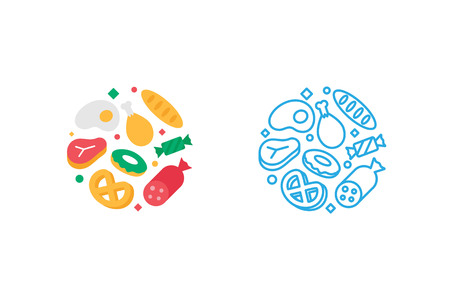 style template: Food logo template. Vector illustration modern flat and line style