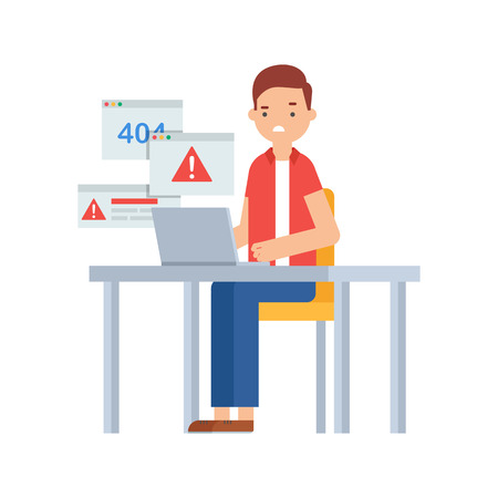 errors: Computer viruses, system errors. Vector illustration of a man sitting at the table and working on the computer