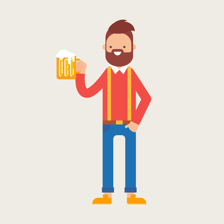 beer pint: Vector illustration of a man holding a glass of beer