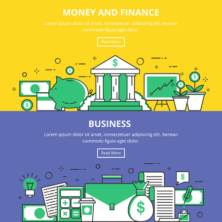 symbol technology: Money and Finance Business Banners. Vector Illustrations