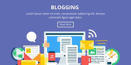 Blogging, content marketing flat style banner Иллюстрация