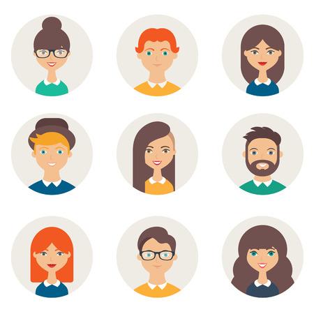 perfil de mujer rostro: Conjunto de avatares. Los personajes masculinos y femeninos. caras de la gente, hombre, mujer, niña, niño, persona, usuario. estilo plano ilustración vectorial moderna Vectores