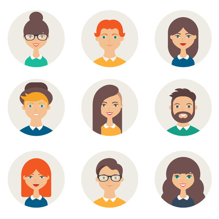 Set of avatars. Male and female characters. Peoples faces, man, woman, girl, boy, person, user. Modern vector illustration flat style 矢量图像