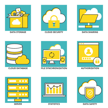authorization: Cloud computing vector icons set: data storage, cloud security, data sharing, cloud database, file synchronization, authorization, server, statistics, data safety. Modern line style Illustration