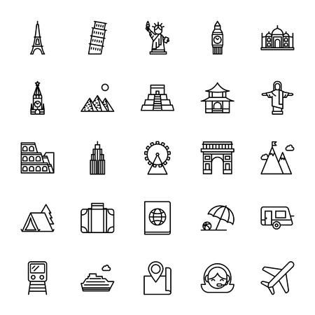 monumento: Señales, viaje. Conjunto de iconos del vector. estilo de esquema