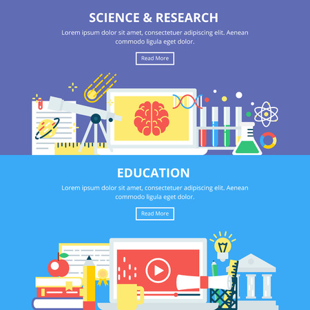 research education: Science and Research Education Banners. Vector Illustrations