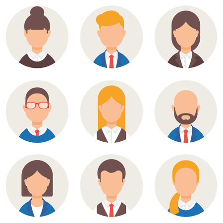 woman male: Set of avatars. Male and female characters. Peoples faces, man, woman. Business people, businessman, businesswoman. Modern vector illustration flat style Illustration