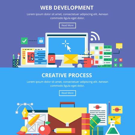web development: Web Development Creative Process Banners. Vector Illustrations Illustration