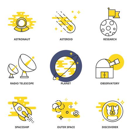 descubridor: Iconos del vector de espacio establecen: astronauta, asteroides, la investigación, el radio telescopio, planeta, observatorio, nave espacial, espacio exterior, descubridor. estilo de línea moderna