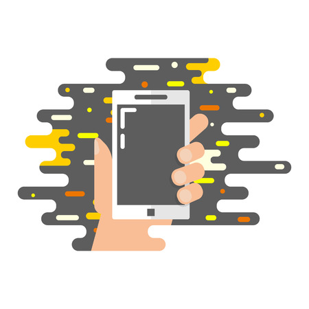 smartphone hand: Vector illustration of a hand holding smartphone