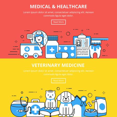 healthcare and medicine: Medical & Healthcare Veterinary Medicine Banners Illustration