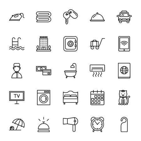 Services de l'hôtel. Ensemble d'icônes vectorielles. style Outline Vecteurs