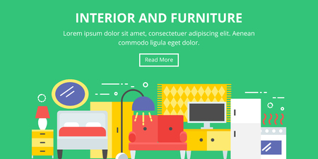 home furniture: Interior, furniture, home decor flat style banner