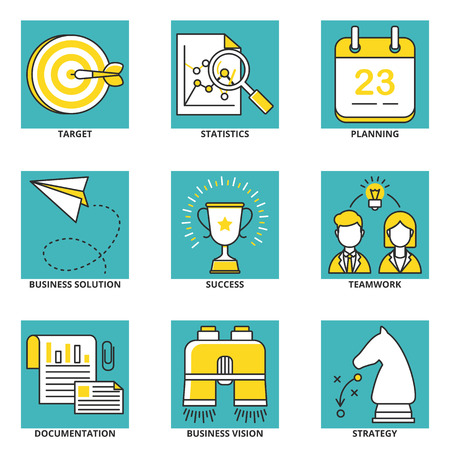 documentation: Business vector icons set: target, statistics, planning, business solution, success, teamwork, documentation, business vision, strategy. Modern line style