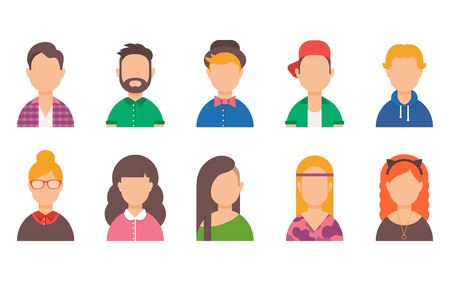 woman male: Set of avatars. Male and female characters. Peoples faces, man, woman, girl, boy, user, person. Fashion and style. Modern vector illustration flat style