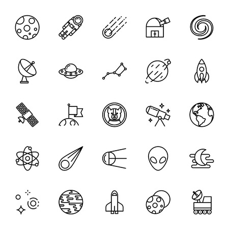 planetoid: Astronomy, science. Set of vector icons. Outline style