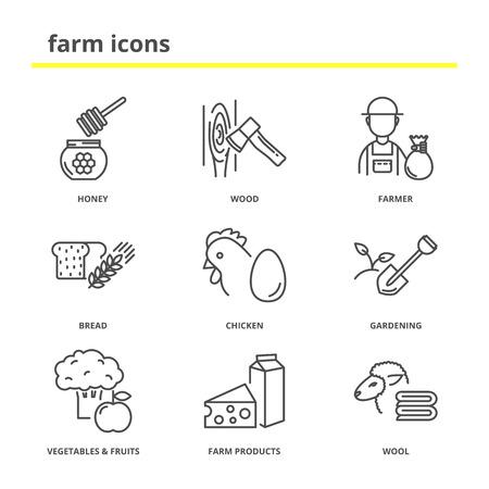 Farm vector icons set: honey, wood, farmer, bread, chicken, gardening, vegetables, fruits, farm products, wool. Line style Vector Illustration