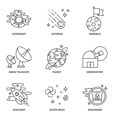 descubridor: Iconos del vector de espacio establecen