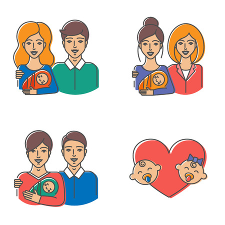 Heterosexual and homosexual families. Vector illustration of couple with baby - straight, lesbian, gay couples