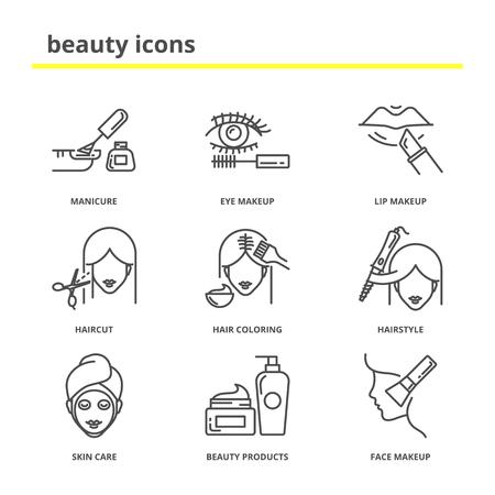 Beauty-Vektor-Icons Set: Maniküre, Augen und Lippen Make-up, Frisur, Haarfarbe, Frisur, Hautpflege, Beauty-Produkte, Kosmetik. Linienstil