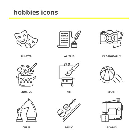 writing lines: Hobbies vector icons set: theater, writing, photography, cooking, art, sport, chess, music, sewing. Line style, education concept