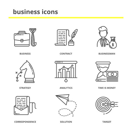 business contract: Business and office vector icons set: contract, businessman, strategy, analytics, money, finance, correspondence, solution, target. Line style