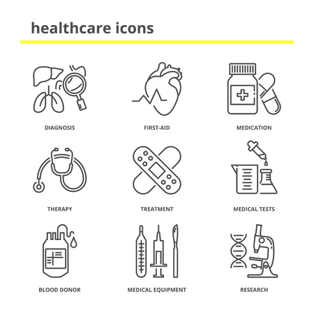 firstaid: Healthcare and medical vector icons set: diagnosis, first-aid, medication, therapy, treatment, medical tests, blood donor, medical equipment, research. Line style