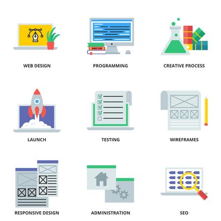 web development: Web development flat icons set