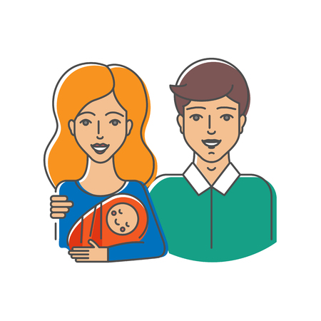 wife: Vector illustration of happy family - wife, husband and their child Illustration