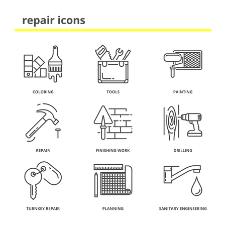finishing: House repair and construction vector icons set: coloring, tools, painting, finishing work, drilling, turnkey repair, planning, sanitary engineering. Line style Illustration