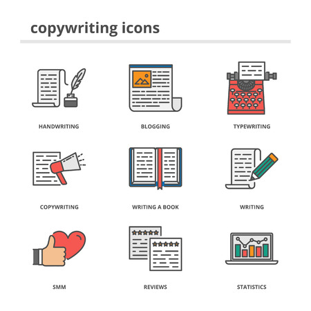 copywriting: Copywriting and writing icons set