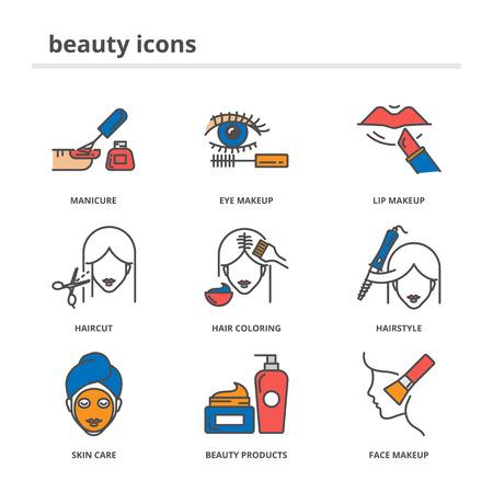 tinte cabello: Iconos de la belleza fijaron Vectores