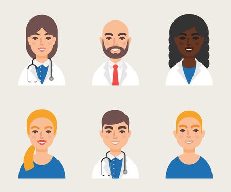 medical doctors: Medical community staff doctors nurses illustration
