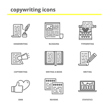 article icon: Copywriting and writing icons set: handwriting, blogging, typewriting, copywriting, writing a book, writing, smm, reviews, statistics. Modern line style