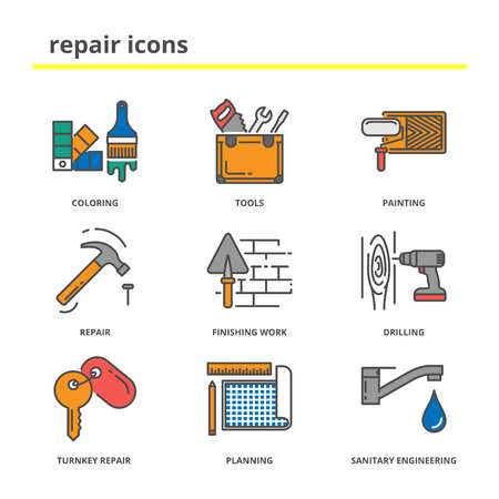 house construction: House repair and construction icons set