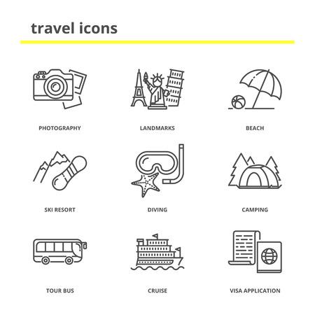 ski resort: Travel and vacation icons set: photography tour, landmarks, beach, ski resort, diving, camping, tour bus, cruise, application. Modern line style