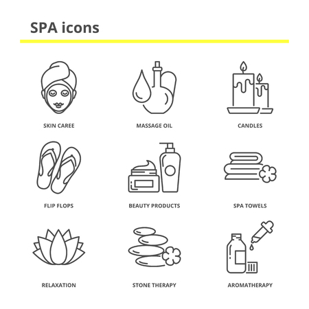 beauty products: Spa and beauty icons set: skin care, massage oil, candles, flip flops, beauty products, spa towels, relaxation, stone therapy, aromatherapy. Modern line style