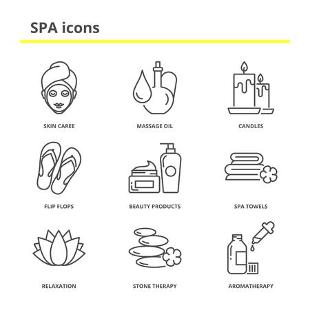 productos de belleza: Spa y de belleza conjunto de iconos: cuidado de la piel, aceite de masaje, velas, chanclas, productos de belleza, toallas de spa, relajación, terapia de piedras, aromaterapia. estilo de línea moderna