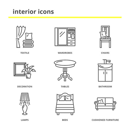 cushioned: Home interior icons set: textile, wardrobes, chairs, decoration, tables, bathroom, lamps, bedroom, cushioned furniture. Modern line style Illustration