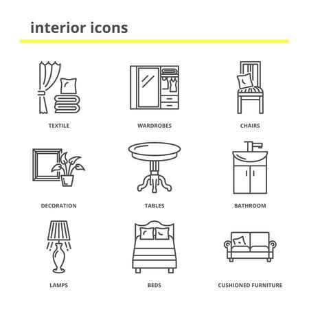decoracion mesas: Inicio inter conjunto de iconos: textil, armarios, sillas, decoración, mesas, cuarto de baño, lámparas, dormitorio, muebles acolchados. estilo de línea moderna Vectores
