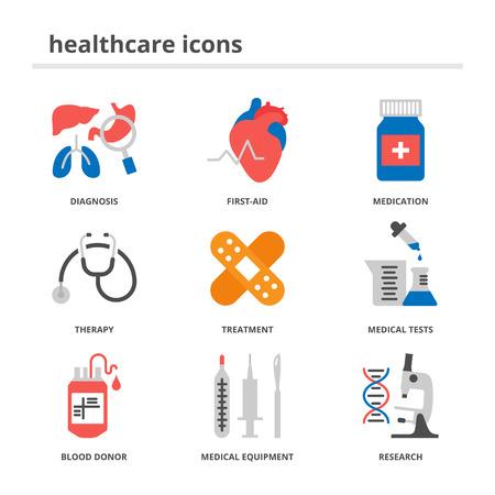 Gezondheidszorg en medische pictogrammen instellen, vlakke stijl Vector Illustratie