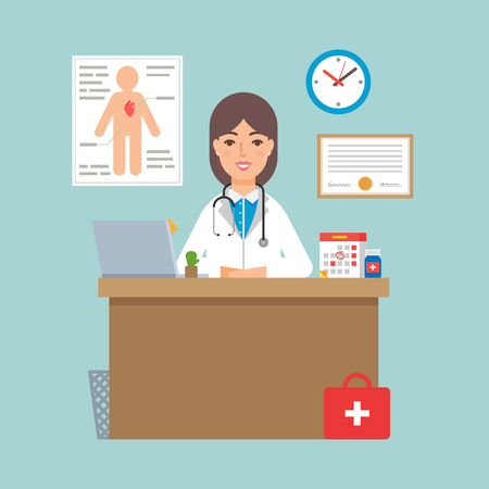 medico: illustration of a doctor sitting at the table in the office Illustration