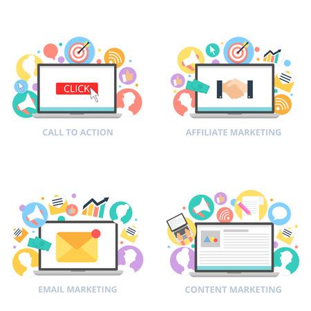 Internet marketing set illustration flat style Illustration
