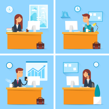 business office: set of business people working in the office Illustration