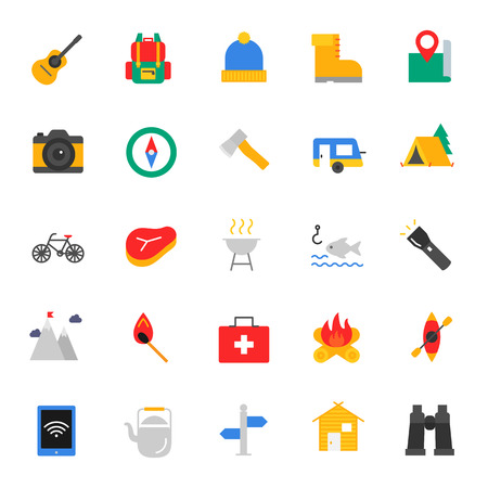 Camping, travel. Set of color icons